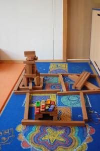 Bauecke im Gruppenraum des Kindergartens